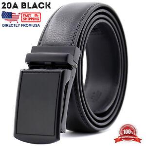 Men's Leather Adjustable Automatic Buckle Ratchet Gold Dress Belt
