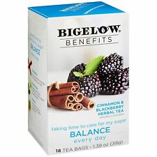 TEA BALANCE CINNAMON & BLACKBERRY Herbal TEA Bigelow Benefits (18 bags x 1 box)