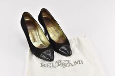 "Beltrami Black Suede Pumps 3"" Heels w/ Dust Cover Bag - Size 38.5 - R43"