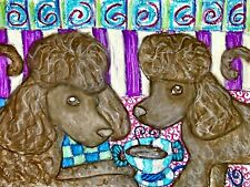 Irish Water Spaniel Drinking Coffee Dog Pop Folk Vintage Art 8 x 10 Signed Print
