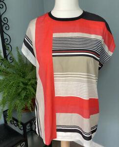 Boxy Oversize Stripe Pattern Top Lightweight Summer Work Size 14