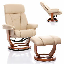 The Saigon - Genuine Leather Recliner Swivel Chair & Footstool In Cream