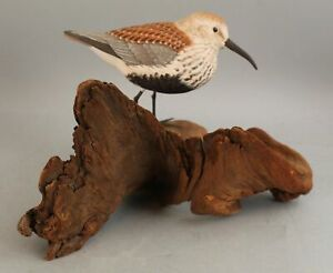 Authentic 1980 Dick Sawdo Dunlin Compitition Carved & Painted  Wood Shorebird NR