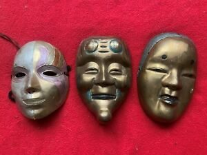 3 VINTAGE large  SOLID BRASS WALL DECOR PAINTED FACE MASK ART