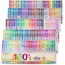 Gel Pens Colors Set, Reaeon 160 Unique Colored Gel Pen for Adults Coloring Books