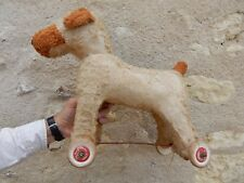 CHARMING ART DECO ERA  TOY  DOG  ON WHEELS seeks new home  -to restore   A