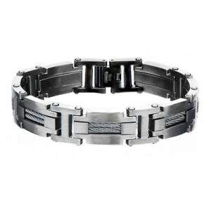 Inox Bracelet Men's Gunmetal Cable Bar Link Bracelet