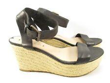 Via Spiga Shoes Womens 7 Espadrille Wedge Sandals Black Leather Heels Slingback