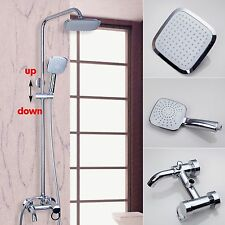 "Chrome Bath Shower Faucet Set Mixer Tap 8"" Rain Shower Head w/ Hand Sprayer"