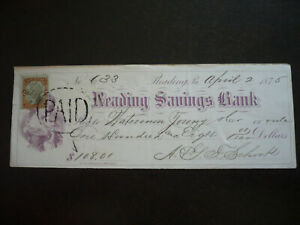 Revenues - USA - Cheque from The Reading Savings Bank, Reading, Pa - Scott# R135