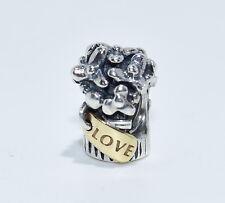 Authentic Pandora Retired silver 14k  Love Bouquet bead slide Charm