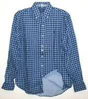 Polo Ralph Lauren Mens Navy Blue Checks Flannel Button-Front Shirt NWT Size L