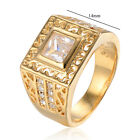 Mens crystal solid Yellow Gold Filled university class men ring size 9.5 wedding