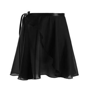 Women Girl Hem Lyrical Ballet Wrap Over Scarf Skirt Leotard Dress Dance Costumes