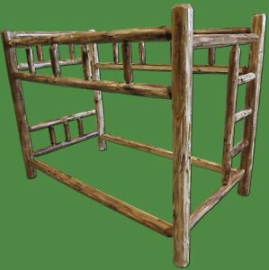 Torched Cedar Log Bunk Bed -Twin Over Twin $849 - Free Shipping