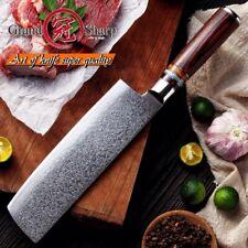 "7""multi-purpose Nakiri Knife Japanese Damascus Stainless Steel vg10 Grandsharp A"