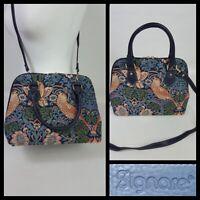 Signare Blue William Morris Style  Bird Floral Tapestry Shoulder Bag Size M