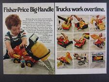 1978 Fisher-Price Big-Handle Trucks cement mixer crane dozer vintage print Ad
