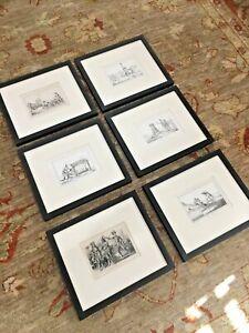 Set (6) Vernier / De Bry Antique 1837 Print FLORIDA INDIANS Framed
