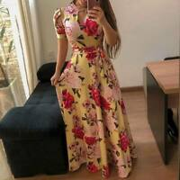Women's maxi floral long party evening sundress dress cocktail Boho beach summer