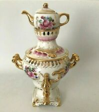 Stunning Gzhel Decorative Russian Porcelain & Gold Samovar topped with Teapot