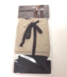 New Women's Knit W/ Band Beige / Brown BOOT CUFF Leg Warmer Topper USA Seller
