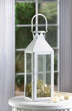 """2 Classic Sleek Contemporary White Candle Lantern Centerpiece 18.6"""" with Loop"""