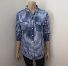 NWT Hollister Womens Plaid Shirt Size Medium Top Shirt Navy Blue