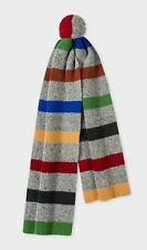 Paul Smith Men's Donegal Multi-Color Stripe Scarf in Gray, New w/Tags