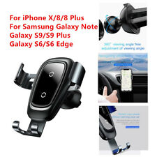 Baseus Wireless Car Mount Air Vent Cell Phone Holder Qi Fast Charger For iPhoneX