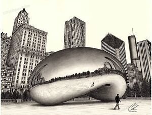 The Bean (Cloud Gate Chicago) pencil drawing, direct from artist-18x24 inches