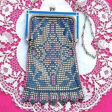 Art DECO Sugned  WHITING & DAVIS Enamel Mesh Purse BAG Blue Pink Pastels EVC