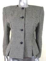 Vintage Houndstooth Blazer Jacket Wool Jenni Barnes Classic Tweed British 12