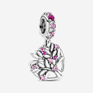 HEART FAMILY TREE Authentic PANDORA .925 Charm, Pink Sapphire and Ruby