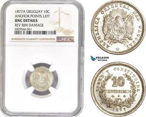 AD184-R Uruguay 10 Centesimos 1877-A, Paris, Silver, Anchor points left, NGC UNC
