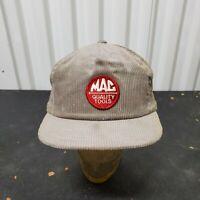 VTG Mac Tools Racing Gray Corduroy Trucker Snapback Hat Cap Swingsters Patch