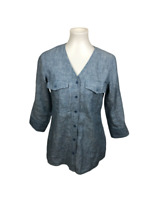ORVIS Women's Size XS 100% Linen Button Down Tunic Top Blue V-Neck 3/4 Sleeves