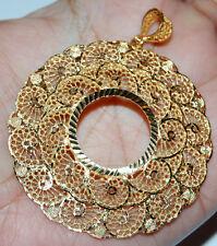 "21K Yellow Gold Pendant Necklace 2.1/4""W Bezel For Panda 24K 22mm Coin 22K HEAVY"