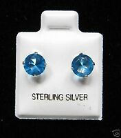 Round 6mm Blue Zircon Cubic Zirconia December Birthstone Silver Stud Earrings