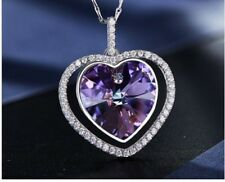 Rhodium Plated Sterling Silver Purple Heart Necklace Made with Swarovski Crystal
