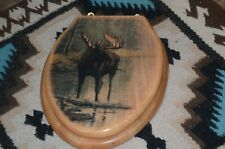 Toilet Seat-Painted, Wood, Brass Hinge- with Moose Painting-Refurbished