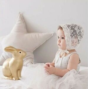 GIRLS - CHRISTENING HAT- SPECIAL OCCASION -IVORY LACE- EMBOIDERED -BONNET SUNHAT