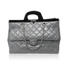 Chanel Black Resin Handle Grey Calfskin Leather Large Shopping Tote Shoulder  Bag 7d94a64d3e0