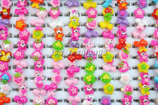 Wholesale Mixed Lots 20Pcs Cartoon Resin Lucite Children Rings Jewelry 13mm FREE