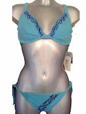 Blue Sequin Underwired Bikini Set UK 10 No Padding Cups Tie Side Bottoms New