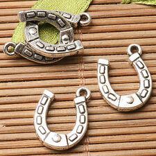 24pcs dark silver color 2sided  U shaped horse shoe design charms  EF2761