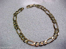 Gold 14.9 Grams Solid Gold Make Offer 8 inch Men's Figaro Link Bracelet 14k