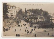 Lausanne Place de la Gare & Petit Chene RP Postcard  207a