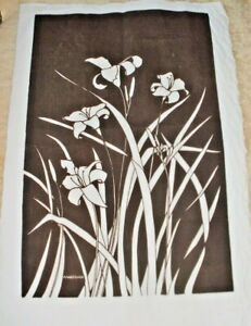 "Vintage MARUSHKA 50s LARGE 32""x47"" Lily Linen Screen Print Wall Art Marüshka"