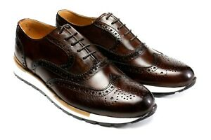 IVAN TROY Jamal Coffee Lace Up Italian Leather Dress Shoes/Oxford Office Shoes